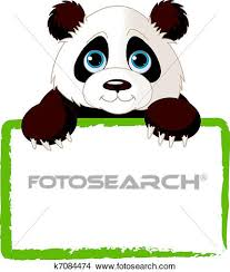 cute panda clipart. Delighful Panda Adorable Panda Looking Over A Blank Sign Inside Cute Clipart E