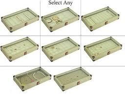 glass top burlap wooden case jewelry box display case w beige liner showcase