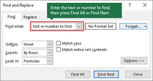 Find Or Replace Text And Numbers On A Worksheet Excel