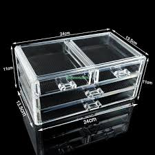 4 drawers cosmetic organizer clear acrylic jewellery box makeup storage case eqc380 acrylic makeup organizer in jewelry packaging display from jewelry