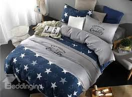 popular star print navy blue 4 piece cotton duvet cover sets beddinginn com