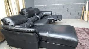 soro leather recliner corner sofa black used electric ex f village furniture remarkable mustang chaise