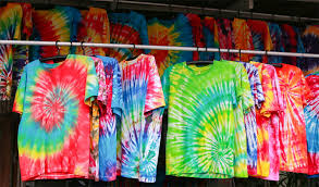 row tie dyed t shirts hanging
