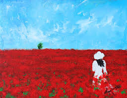 nature painting being a woman 4 in a field of poppies by e