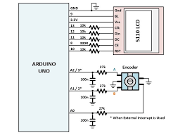 how to use a rotary encoder in an mcu based project the circuit is built around arduino uno a nokia 5110 lcd is used for graphical interface a mechanical rotary encoder push on switch and its rc
