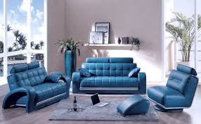 leather furniture design ideas. Blue Leather Furniture Unique Designed At Minimalist Living Room With Standing Vase And Floating Shelves Storage Design Ideas O