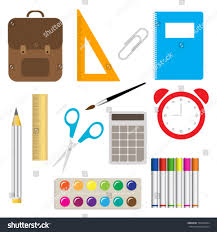 colorful office accessories. School Supplies Learning Equipment And Different Colorful Office Accessories. Accessories