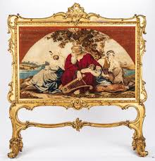 French Rococo Artist And Tapestry Designer French Rococo Style Giltwood Tapestry Firescreen