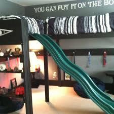 loft with slide. boys loft bed. loft/bunk slide. drawer pulls on support boards to hang with slide m