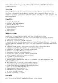 Resume Templates: Mill Worker