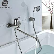 tub faucet with hand shower best quality long spout bathtub faucet wall mounted longer nose tub faucet with hand shower