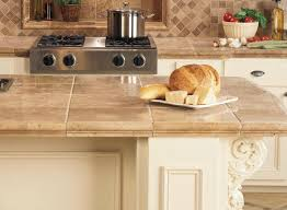 large beige tiles on a kitchen island
