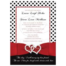 Polka Dot Invitations Wedding Invitation Black White Red Polka Dots Printed Ribbon