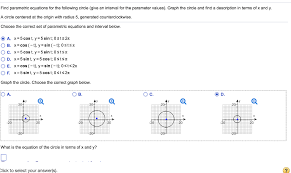 find parametric equations for the following circle give an interval for the parameter values