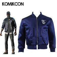 Holloway Apparel Size Chart Us 69 0 Watch Dogs 2 Marcus Holloway Jacket Cosplay Costume Blue Coat Men Adults Outwear Suit Autumn Winter Jacket Halloween Christmas In Game