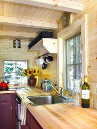tiny house kitchen with large windows