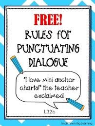 Dialogue Anchor Chart Rules For Punctuating Dialogue Handout Mini Anchor Chart Tpt