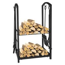 Fireplace Tools Log Rack Set with 4 Piece Tools Wrought Iron Black  Fireplace Tools Firewood Holder