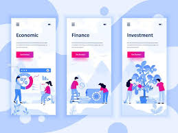 Set Of Onboarding Screens User Interface Kit For Economics