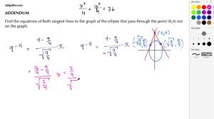 calculus addendum find both tangent lines to an ellipse through a point not on the ellipse