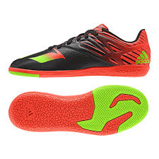 adidas youth shoes. adidas messi 15.3 youth indoor soccer shoes (black/solar green/solar red) s