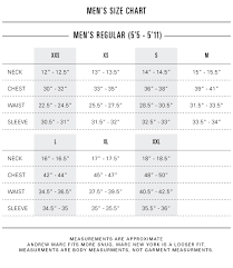 Mens Sizing Chart Size Fit Andrew Marc