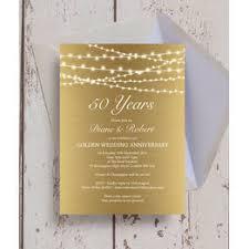 gold fairy lights 50th golden wedding anniversary invitation