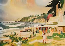 beach party watercolor famous artists