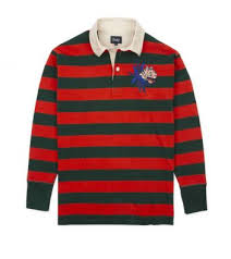 orange and green stripe embroidered tiger rugby shirt