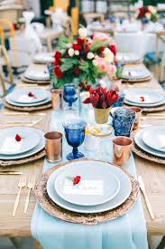 elegant table settings. Page Blue Dinner Plates And Table Runners - Elegant Setting Inspiration For A 4th Of July Wedding Reception Settings