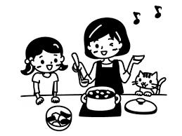 親子で料理をしている白黒イラスト02 かわいい無料の白黒イラスト モノ