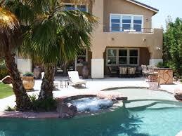 backyard pool with palm trees