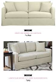 Crate and Barrel Willow Sofa $1,899 -vs- Lamps Plus Sofab Lily Ivory  Slipcover Sofa