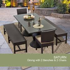 Saturn rectangular outdoor patio dining table with 2 chairs and 2 benches design furnishings