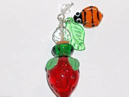 details about 1pc imp murano glass strawberry fruit perfume cork bottle pendant vial necklace