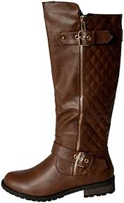 Forever Link Women's MANGO-21 Quilted Zipper Accent Riding Boots ... & Forever Link Women's MANGO-21 Quilted Zipper Accent Riding Boots, Brown, 10  * Adamdwight.com