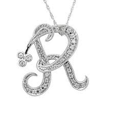 wishlist quick view alphabet initial letter r diamond pendant necklace in 14k white gold i3 0 12 carat