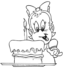 Small Picture Birthday Coloring Page A 1 Year Old Girl With Her Cake