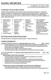 Financial Analyst Resume Example   business analyst resume summary