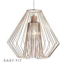 cage polished copper wirework easy fit pendant shade only