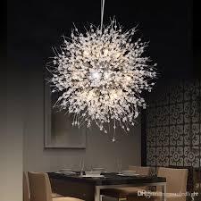 modern dandelion led ceiling light crystal chandeliers lighting globe ball pendant lamp for dining room bedroom living room lighting fixture led ceiling