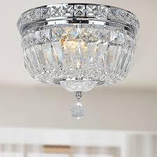 amazing flush mount chandelier nerisa chrome crystal