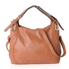 camel faux leather hobo bag 16x7x10 in with detachable shoulder strap 47 in lc