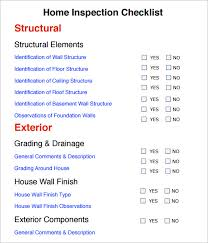 checklist for house inspection home inspection checklist 7 free download for pdf