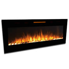 elite flame 60 inch fusion pebbles built in smokeless wall mounted electric fireplace
