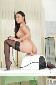 Busty chinese babe in stockings