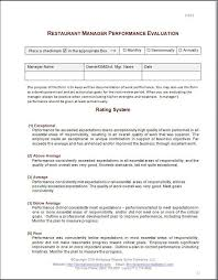 Restaurant Manager Review Forms Restaurant Manager Review Forms Rome Fontanacountryinn Com