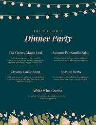Autumn Dinner Menus Customize 404 Dinner Party Menu Templates Online Canva