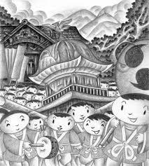 隠し絵お祭り村祭り鎮守の森担ぎ手法被神社 無料で