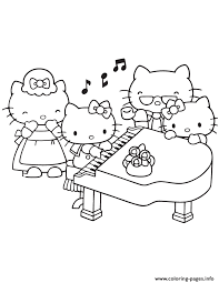 Hello Kitty Playing Piano With Family Coloring Pages Printable